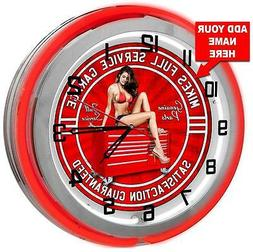 "Personalized Pin Up Girl 18"" Red Neon Garage Clock from Rede"