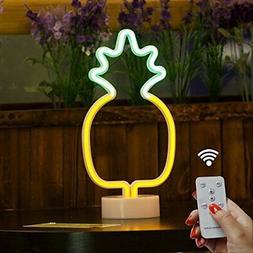 DELICORE Pineapple Neon Signs, LED Remote Control Neon Light