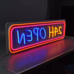 Pink Blue Light Up 24H Open Signage Flex Led 3D Custom <font