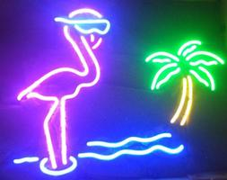 "Pink Flamingo Palm Tree Neon Lamp Sign 17""x14"" Bar Light Gla"
