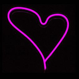 Pink Heart LED Neon Sign Wall Neon Light Wall light 30cm x 2