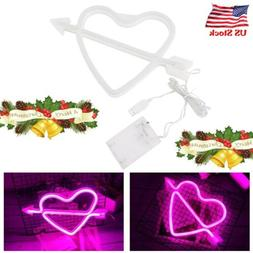 Pink LED Sign Lights Cupid Love Neon Light Wall Poster Lamp