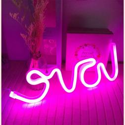 Hopolon Pink Love Neon Sign, LED Neon Light Sign for Party S