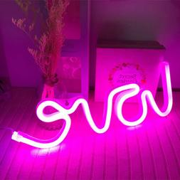 Pink Love Night Lights LED Neon Signs USB/Battery Wall for H