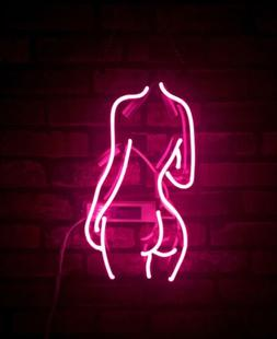 """14""""x9""""Pink Lady's Neon Sign Wall Hanging Light for Bedroom N"""