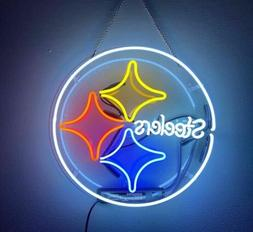 "Pittsburgh Steelers Acrylic Neon Light Sign 14"" Glass Artwor"