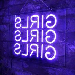 Purple GIRLS GIRLS GIRLS Neon Sign Light Canteen Bistro Pati