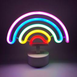 Rainbow Neon Light Sign with Base Night Light Battery Powere
