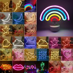 Rainbow Night Lights LED Neon Signs USB/Battery Wall Lamp fo