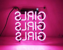 Real Glass Display Neon Signs Pink Girls 10x10