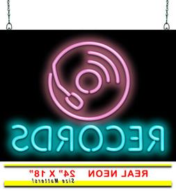 "Records Neon Sign | Jantec | 24"" x 18"" 