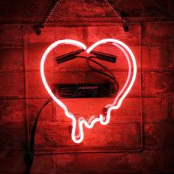 "Red Dripping Heart Neon Sign Bar Gift 14""x10"" Light Lamp Bed"