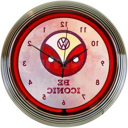 Red Neon Clock sign VW Volkswagen Be Iconic 1960's retro art