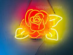 "Red Rose Flower Yellow Leaves Acrylic Neon Light Sign 14""x10"