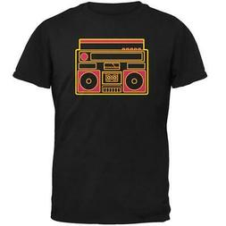 Retro 80s Neon Sign Boombox Mens Soft T Shirt