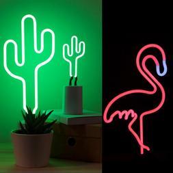 Retro Flamingo Cactus <font><b>Neon</b></font> <font><b>Sign