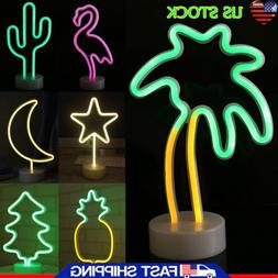 Retro Palm Tree LED Neon Sign Night Light Table Desk Lamp In