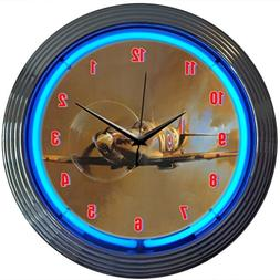 Neonetics Retro WWII Spitfire Airplane Neon Wall Clock, 15-I