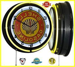 "18"" Shell Gasoline Vintage Logo Yellow Double Neon Clock"