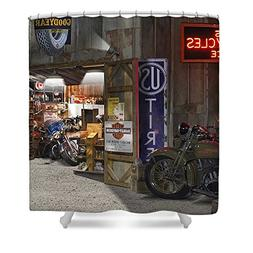 "Pixels Shower Curtain  ""Outside The Motorcycle Shop"""