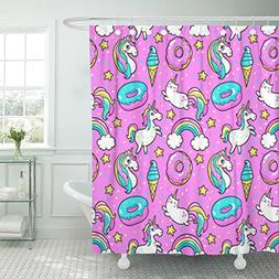 TOMPOP Shower Curtain Unicorns Donuts Rainbow Confetti Pins