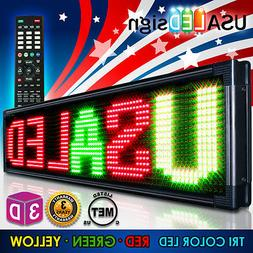 "LED Signs 40"" X 15"" Tri-color Bright Digital Programmable Sc"
