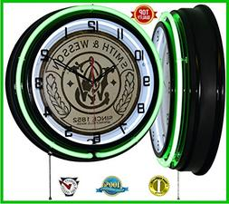"""18"""" Smith & Wesson Since 1852 Sign Green Double Neon Clock G"""