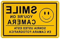 Smile You're on Camera Security Video Surveillance Sign Engl