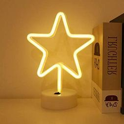 Star Neon Signs Gifts Room Decor With Holder Base Light For