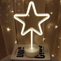 Star Neon Signs Neon Light LED Neon Sign with Base Holder Ar