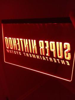 SUPER NINTENDO LED Sign for Game Room,Office,Bar,Man Cave US