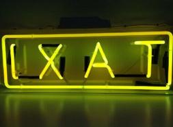 "Taxi Rectangle Neon Light Sign Lamp Acrylic 14"" Decor Bedroo"