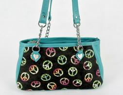Teal Leather, Neon Peace Sign Fabric Purse, Erie Street Leat