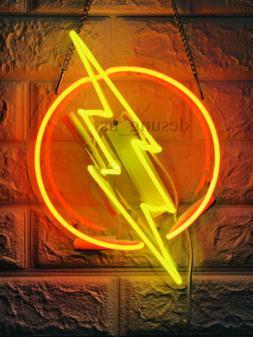 "Thunder Flash Neon Lamp Sign 14""x8"" Acrylic Light Bar Artwor"
