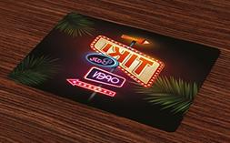 Ambesonne Tiki Bar Place Mats Set of 4, Old Fashioned Neon S