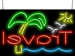 """Travel With Palm Tree Neon Sign 
