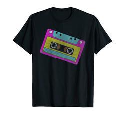 80s Retro Neon Sign Vintage Cassette Tape Costume Tshirt