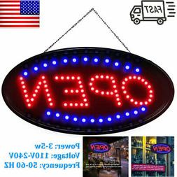 """Ultra Bright Large Size Flash Motion 19""""x 10"""" LED Neon Open"""