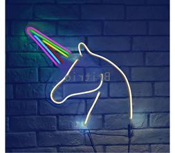"""Unicorn LED Neon Wall Sign 13"""" Hanging Light Kid's Girl Bedr"""
