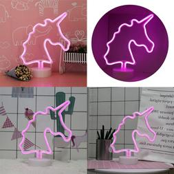 Unicorn Neon Signs LED Light Sign W Holder Base For Home Par
