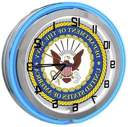 "United States Navy 18"" Blue Double Neon Clock from Redeye La"