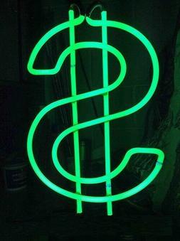 "US Dollar Green Neon Sign Bar Gift 14""x10"" Light Lamp Bedroo"