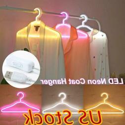 US USB LED Neon Sign Night Light Coat Hanger Light Decoratio