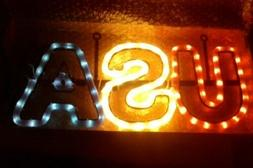 """USA Sign Led Lights Neon Like Red White 7"""" x 15"""" Patriotic B"""