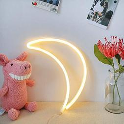 BEMOMENT USB & Battery Powered Moon Neon Signs Light Led Neo