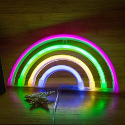 USB/Battery Powered Night Lamp Neon Light LED Rainbow Sign S