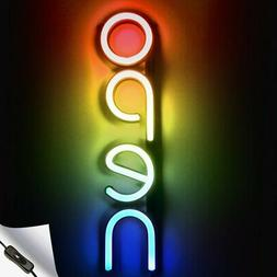 Vertical LED Neon Open Sign for Business - Red-Yellow-Green-