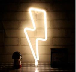 Warm White NEON Lightning Bolt LED Sign Light Wall Hanging P