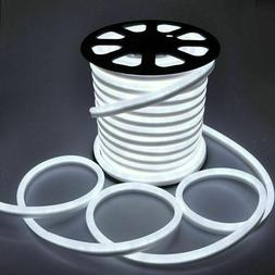 White 50' LED Neon Rope Light Flex Strip Commercial Sign Hom