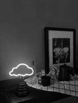 White Clouds Night Lamp Neon Sign Sculpture Pub Porcelain Ba
